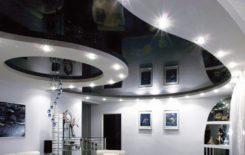 Сочетание гипсокартона и натяжного потолка