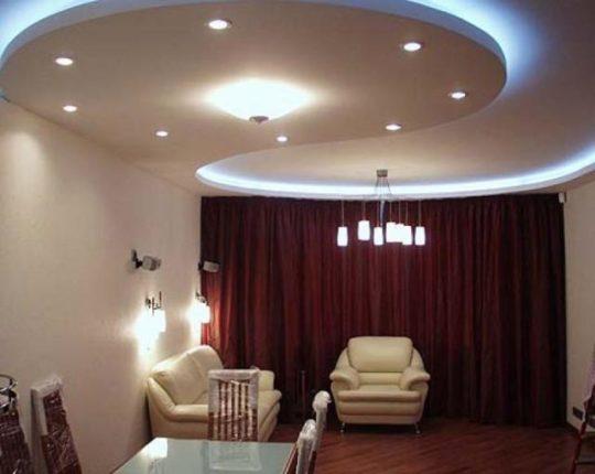 Натяжной потолок с гипсокартоном