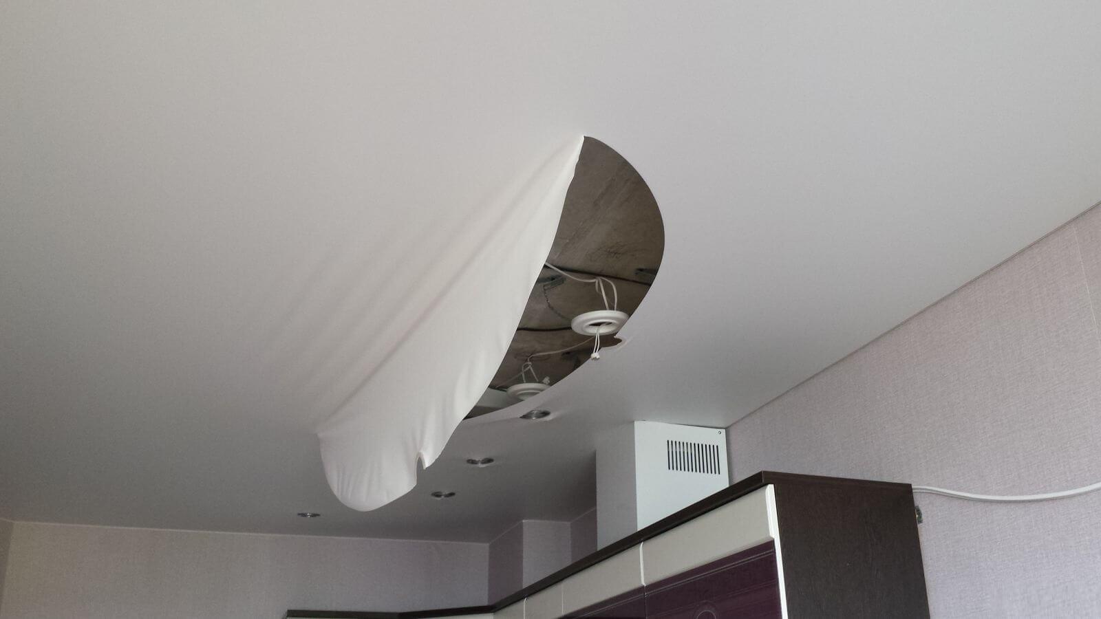Как сделать заплатку на натяжном потолке