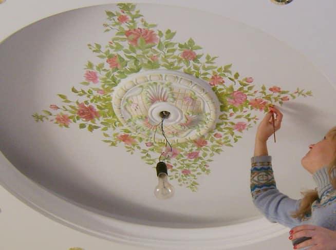 Рисунки на потолке на кухне своими руками 31
