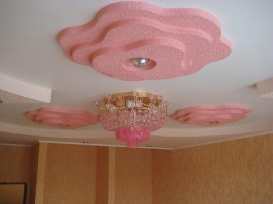 Розы на потолке из гипсокартона