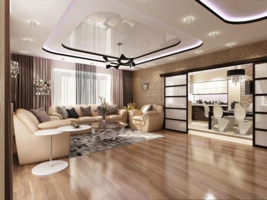 Дизайн комнаты с натяжным потолком