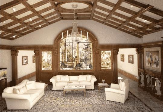 Деревянный потолок в частном доме