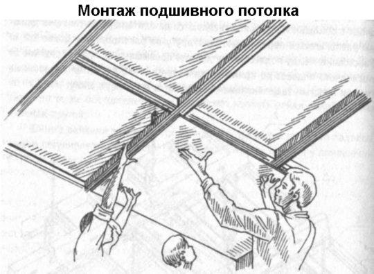 Монтаж подшивного потолка