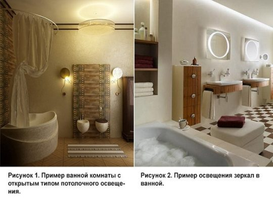 Примеры освещения ванной комнаты