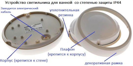 Схема устройства светильника для ванной