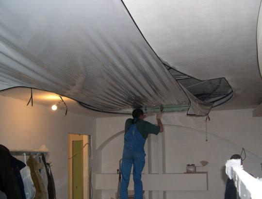 Установка натяжного потолка с гипсокартоном