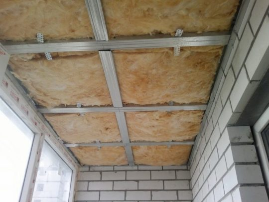 Каркас для потолка с утеплителем