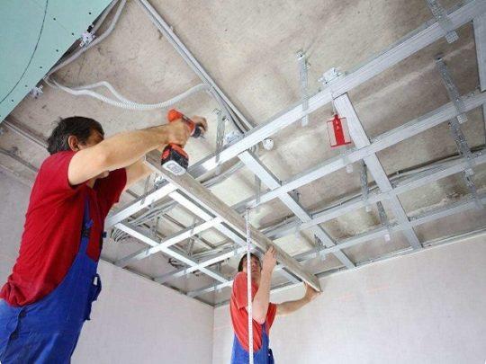 Каркасное выравнивание потолка гипсокартоном